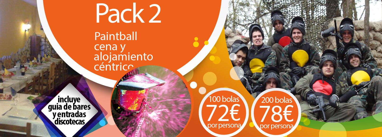 Pack 2: Paintball, cena y alojamiento céntrico