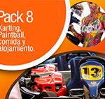 pack 8: Karting, paintball, comida y alojamiento
